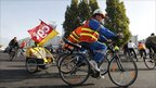 Striking workers from French oil giant Total cycle from the oil refinery of Donges to a demonstration in Saint Nazaire
