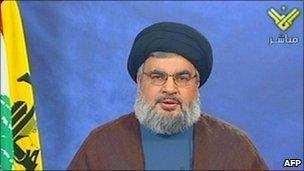 Hassan Nasrallah, screen grab from al-Manar television, 28 October 2010