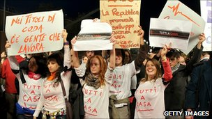 Protesters at the opening of the Rome Film Festival