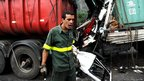 A lorry crash on the motorway near Santos.