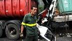 A lorry crash on the motorway near Santos.
