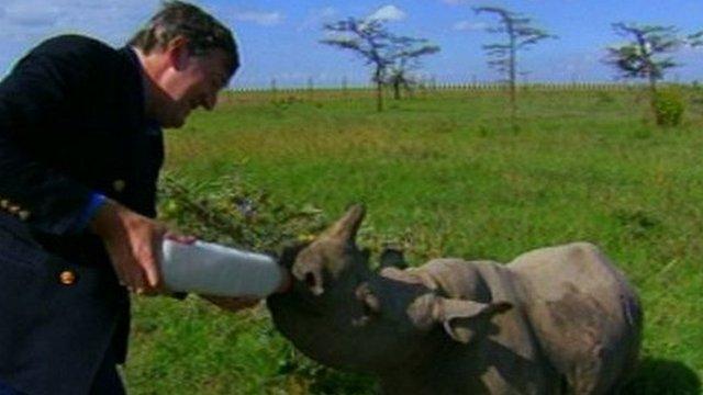 Stephen Fry feeding baby white rhino