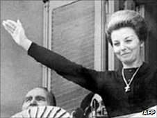 Isabel Peron waves to the crowds in 1974 in Buenos Aires