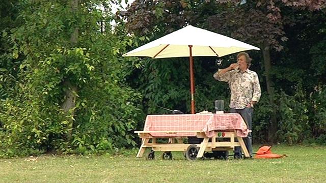 James May at picnic table