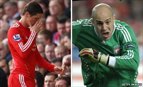 Fernando Torres and Pepe Reina