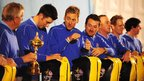 Europe's Ian Poulter during a Ryder Cup team photocall at Celtic Manor. (Rui Vieira/PA Wire).