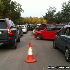 Cars trying to get out of Legoland car park
