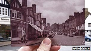 Pinner High Street, in 1950 and today