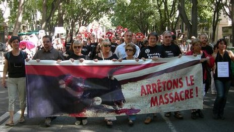 Anti-bullfight campaigners march in Nimes, France