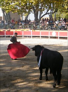 A bullfight in Manduel, southern France