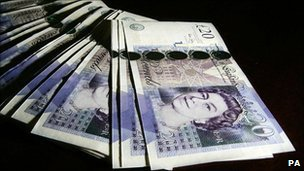 Pile of £20 notes