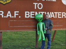 Mark Murphy and a blow up alien outside RAF Bentwaters