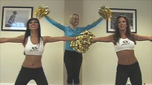 BBC Sport's Amanda Davies & San Francisco 49ers cheerleaders