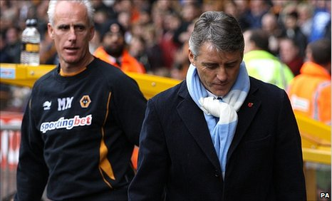 Wolves boss Mick McCarthy and Manchester City manager Roberto Mancini