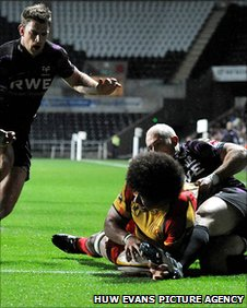 Toby Faletau goes over for the Dragons' first try of the night