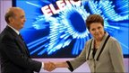 Presidential candidates Dilma Rousseff and Jose Serra together in their final televised debate on 29 October
