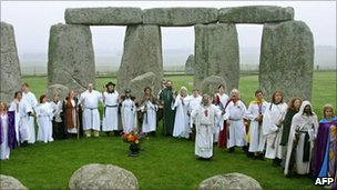 Druids perform a Samhain blessing at Stonehenge