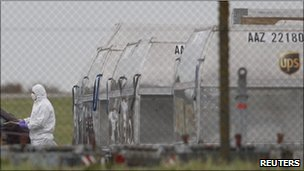 Cargo bomb scene at East Midlands airport