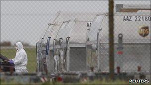 Cargo bomb scene at East Midlands airport