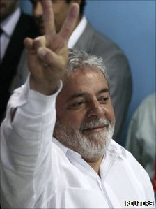 President Luiz Inacio Lula da Silva after casting his vote on 31 October 2010