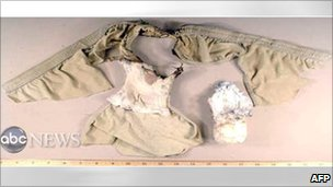 Bomb in underpants worn by Umar Farouk Abdulmutallab (27 December 2009)