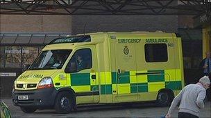 Ambulance at A&E entrance