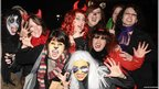 Revellers pictured at the Banks of the Foyle Halloween Carnival in Derry on Sunday night.