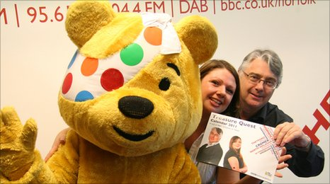 Pudsey, BBC Radio Norfolk's Becky Betts and David Clayton