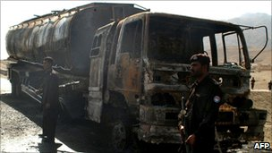 File shot of burnt-out Nato fuel tanker