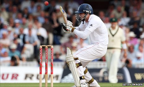 James Anderson takes evasive action against Australia in 2009