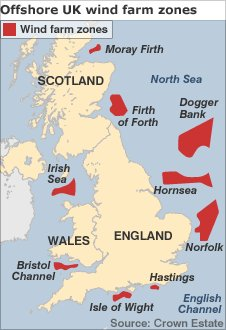 Map showing the new offshore UK wind farm zones