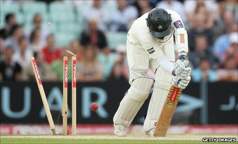 Pakistan's Mohammad Yousuf is bowled by England's James Anderson