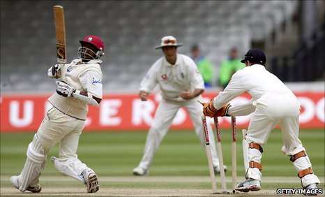 West Indies' Tino Best is stumped by England wicketkeeper Geraint Jones