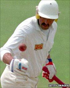 Former England captain Graham Gooch given out - handled the ball
