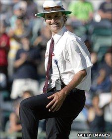 Umpire Billy Bowden signals a leg bye