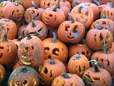 Some of the 102 carved pumpkins from David Finkle's successful world record attempt