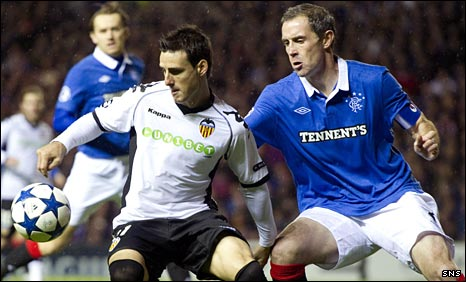 Rangers captain David Weir tussles with Valencia's Aritz Aduriz