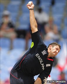 England seamer Tim Bresnan bowls with a white ball at the ICC World Twenty20 in 2010
