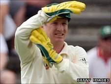 Australia keeper Brad Haddin signals for a review during a Test against South Africa in February 2009