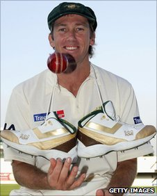 Australia legend Glenn McGrath shows off his cricket shoes