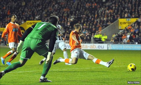 Luke Varney scores Blackpool's second