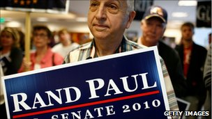 Supporters listen to Republican Senate hopeful Rand Paul campaign in Kentucky