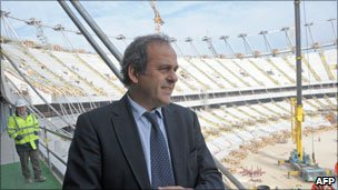 Uefa president Michel Platini visits the new Warsaw stadium