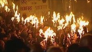 Bonfire parade in Lewes