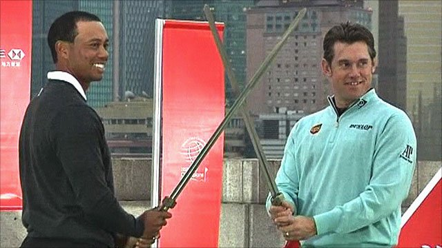 Tiger Woods & Lee Westwood pose for the cameras in Shanghai