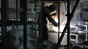 Welder at Shangai's building site