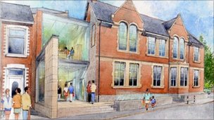 Artist's impressions for the restoration of the 'Memo' memorial hall