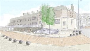 An artist's impression of town centre improvements