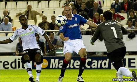 Rangers striker Kenny Miller is thwarted by keeper Cesar Sanchez
