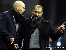 FC Copenhagen coach Stale Solbakken and Barceloa coach Pep Guardiola